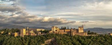 Alhambra - groot panorama Royalty-vrije Stock Foto