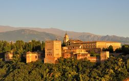 Alhambra illuminated by the setting sun, Granada Stock Photo