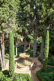 Alhambra inner garden. Alhambra inner garden with fountain royalty free stock images