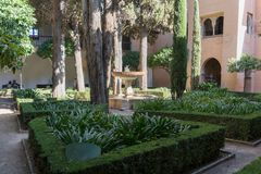 Alhambra Islamic Royal Palace, Granada, Spain. 16th century. Garden With Fountain Stock Photos