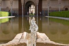 Exterior Patio Alhambra Islamic Royal Palace, Granada, Spain. 16th century. Alhambra Islamic Royal Palace, Granada, Spain. 16th century Exterior Patio With Royalty Free Stock Image