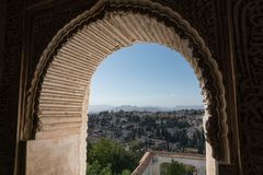 Alhambra Islamic Royal Palace, Granada, Spain. 16th century. View Of The Ancient Fortress Of The Alhambra Islamic Royal Palace, Granada, Spain. 16th century Royalty Free Stock Photo