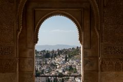 Alhambra Islamic Royal Palace, Granada, Spain. 16th century. View Of The Ancient Fortress Of The Alhambra Islamic Royal Palace, Moresque Ornament Granada, Spain Stock Photography