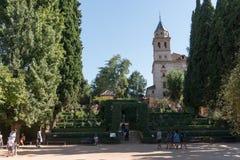 Alhambra Islamic Royal Palace, Granada, Spanje 16de eeuw royalty-vrije stock foto's