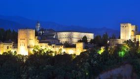 Alhambra la nuit, Grenade, Espagne photos stock