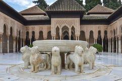 Alhambra - lew fontanna w Granada, Hiszpania fotografia royalty free