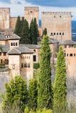 Alhambra mening, torens en vesting royalty-vrije stock afbeelding