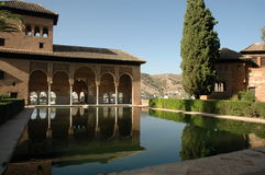 Alhambra mirror lake. Alhambra Palace in front of mirror pond in Grenada, Spain Stock Image