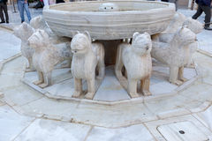 Alhambra Moorish Courtyard Lions Fountain Statue Granada Spain Stock Photography