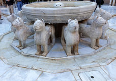 Alhambra Moorish Courtyard Lions Fountain Statue Granada Spain Stock Photos