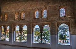 Alhambra Moorish Wall Designs City-Mening Granada Andalusia Spanje Royalty-vrije Stock Foto's