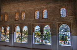 Alhambra Moorish Wall Designs City sikt Granada Andalusia Spanien royaltyfria foton