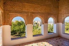 Alhambra Moorish Wall Designs City sikt Granada Andalusia Spanien Royaltyfri Bild