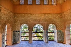 Alhambra Moorish Wall Designs City sikt Granada Andalusia Spanien royaltyfria bilder