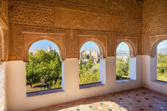 Alhambra Moorish Wall Designs City View Granada Andalusia Spain. Alhambra Moorish Wall Windows Patterns Designs City View Granada Andalusia Spain Royalty Free Stock Image