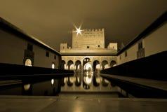 Alhambra nachts, Andalusien, Spanien Lizenzfreies Stockfoto