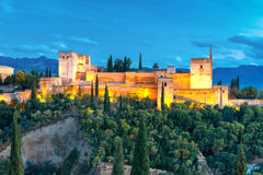Alhambra nachts in Granada, Andalusien, Spanien Stockbild