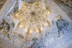 Alhambra, Nasrid Palace, Hall of the Sultans. Ceiling in the Nasrid Palace of the Alhambra, Granada with plaster carvings and arabesque patterns Royalty Free Stock Images