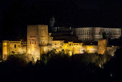 The Alhambra at night. Comares Tower and Palacio de Carlos V at night, the Alhambra Stock Images