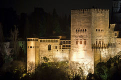 The Alhambra at night. Comares Tower at night, the alhambra Royalty Free Stock Image