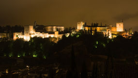 The Alhambra at night Royalty Free Stock Photos