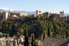 Alhambra no por do sol Fotos de Stock Royalty Free