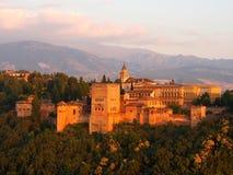Alhambra no por do sol granada Imagens de Stock