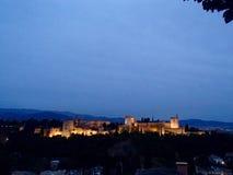 Alhambra på skymningen Fotografering för Bildbyråer