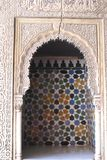 Alhambra Palace alkovdetaljer i Granada, Spanien Royaltyfri Fotografi