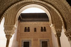 Alhambra Palace arches in Granada, Andalusia, Spain, Europe Royalty Free Stock Photo