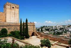 Alhambra Palace castle, Granada. Cistern court featuring the Torre del Homenaje castle tower (Tower of Homage) with views across the Albaicin District, Palace Royalty Free Stock Photos