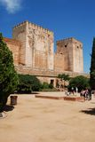 Alhambra Palace Castle, Granada. Cistern court featuring Torre Quebrada and Torre del Homenaje castle towers (Broken tower and Tower of Homage), Palace of Royalty Free Stock Photos