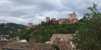 Alhambra palace in cloudy day, Granada, Spain Royalty Free Stock Image