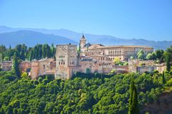 Alhambra palace complex in Granada, Spain taken on a sunny day. One of Spain`s major tourist attractions. Amazing view of Alhambra palace complex in Granada royalty free stock photos
