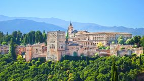Alhambra Palace complex in Spanish Granada. Beautiful Alhambra Palace complex in Spanish Granada on a sunny day captured on 16:9 photography. The amazing royalty free stock photo