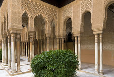 Alhambra Palace Courtyard. The intricately carved cloisters of the Alhambra Palace in Granada, Spain. Parallax corrected Royalty Free Stock Image