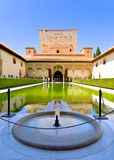 Alhambra Palace courtyard pool. Royalty Free Stock Images