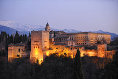Alhambra palace at dusk, Granada, Spain Stock Images