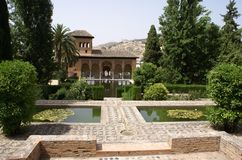 Alhambra Palace garden in Granada, Andalusia, Spain, Europe Royalty Free Stock Image