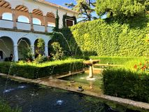 Alhambra, palace and garden located in Granada, Andalusia, Spain. stock photos