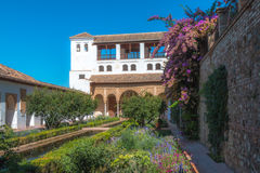 Alhambra palace garden in Spain Royalty Free Stock Photo