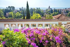 Alhambra palace gardens. Granada, Andalusia, Spain. View of Alhambra palace gardens. Granada, Andalusia, Spain Stock Images