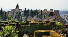 Alhambra Palace & Gardens in Grenade Royalty Free Stock Image