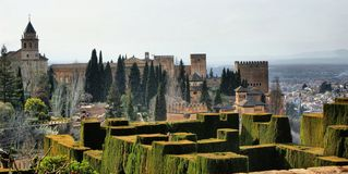 Alhambra Palace & Gardens in Grenade stock image