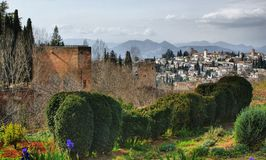 Alhambra Palace & Gardens in Grenade stock photos