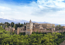The Alhambra Palace of Granada, Andalusia, Spain. April 2015. View to the Alhambra Palace of Granada, The Alhambra the complete Arabic form of which was Qalat Royalty Free Stock Photos