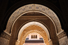 The Alhambra Palace in Granada, Andalusia, Spain. Arab art, plasterwork arches, Palace of Alhambra in Granada, Andalucia, Spain Stock Image