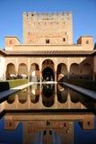 Alhambra palace in Granada, Patio de los Arrayanes, Spain. Arab art, plasterwork and azulejos, courtyard named Patio de los Arrayanes, Palace of Alhambra in Royalty Free Stock Photos