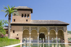 Alhambra palace in Granada. Alhambra patio with pool, Granada, Spain royalty free stock photography