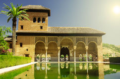 Alhambra palace in Granada. Alhambra patio with pool, Granada, Spain stock photography